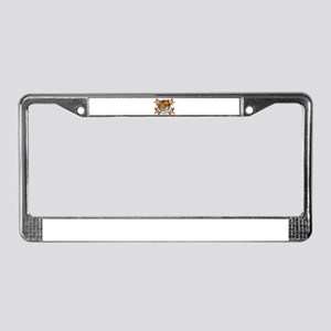 annoyed tiger with lillies License Plate Frame