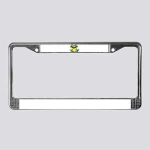 Green Cartoon Frog-4 License Plate Frame
