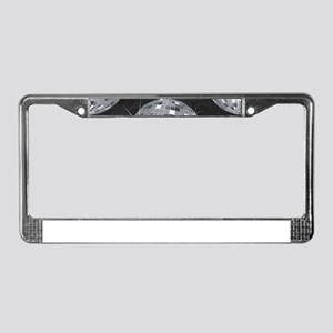 silver disco ball License Plate Frame