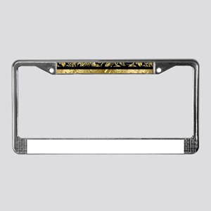 Black and shiny gold print flo License Plate Frame
