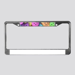 rainbow happy faces art License Plate Frame