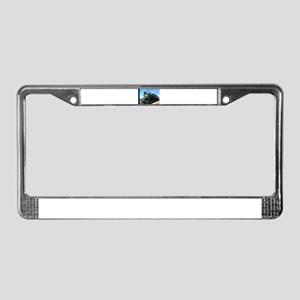 Steam train rolling along License Plate Frame