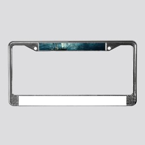 Blue Ocean Ship Storm Clouds License Plate Frame