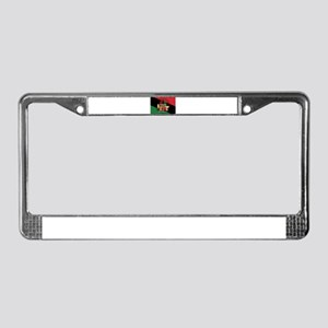 diagonal stripe Happy Kwanzaa License Plate Frame