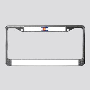 Colorado State Flag Grunge License Plate Frame