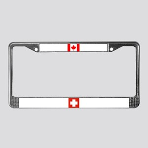 Swiss & Canadian Flags License Plate Frame