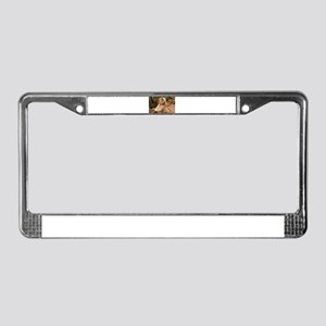blond lhasa stretching on benc License Plate Frame