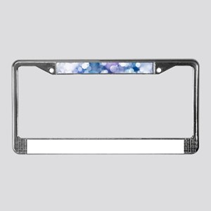 Abstract Blue Christmas Bokeh License Plate Frame