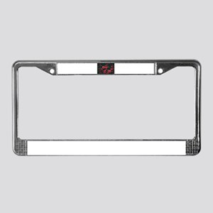 Red Flowers License Plate Frame