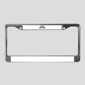 Cute Christmas Penguins in Sno License Plate Frame