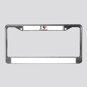 Funny Dessert Food I Love Ice License Plate Frame