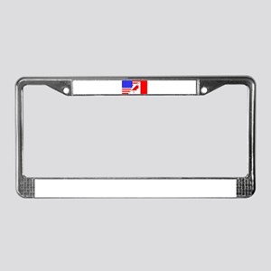 United States and Canada Flags License Plate Frame