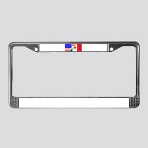 United States and Mexico Flags License Plate Frame