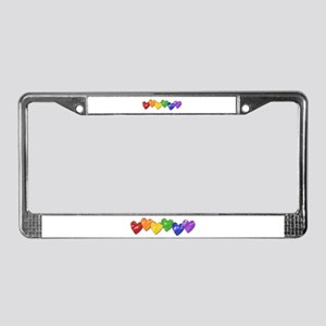 Vintage Gay Pride Hearts License Plate Frame