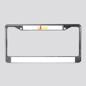 I Bike NYC RED transp License Plate Frame