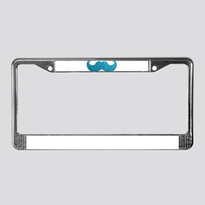 Faux Glitter Mustache in blue License Plate Frame