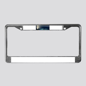 Lighthouse Night Background License Plate Frame