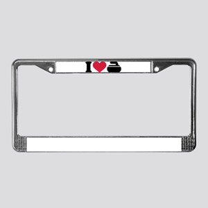 I love Curling stone License Plate Frame