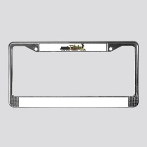 steam train black License Plate Frame