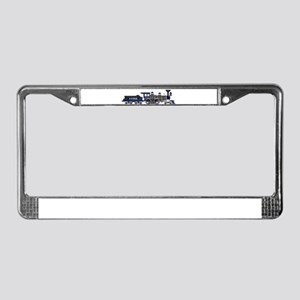 steam train blue and black License Plate Frame
