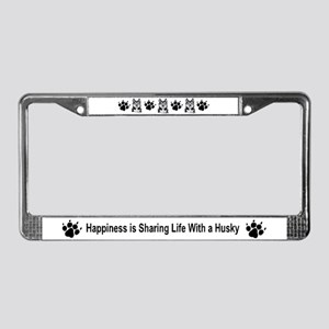 Siberian Husky Happiness License Plate Frame