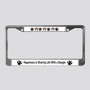 Happiness w Beagle License Plate Frame