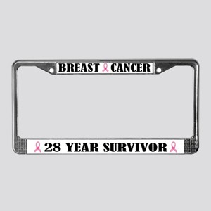 Breast Cancer 28 Year Survivor License Frame