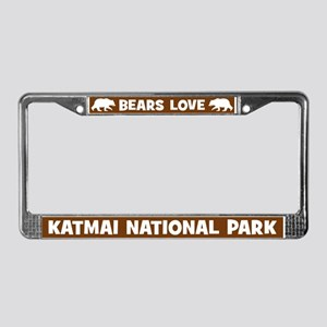 Bears Love Katmai National Park License Frame