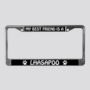 My Best Friend Is A Lhasapoo License Plate Frame