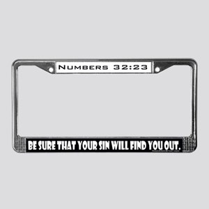 Numbers 32:23 License Plate Frame