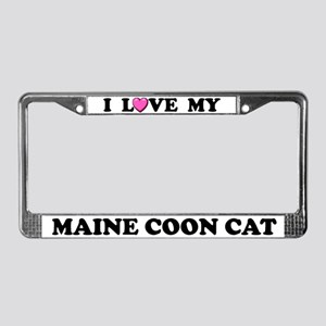 I Love My Maine Coon Cat License Plate Frame