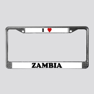 I Love Zambia License Plate Frame