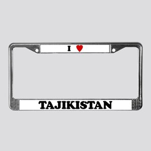 I Love Tajikistan License Plate Frame