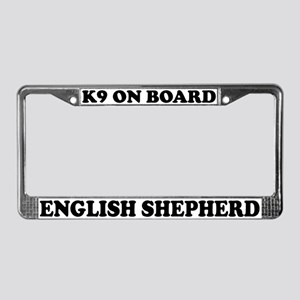 K9 On Board English Shepherd License Plate Frame