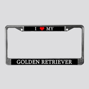 Love Golden Retriever License Plate Frame