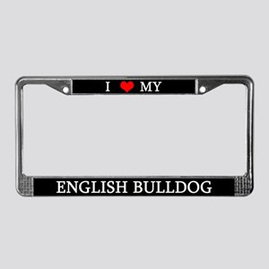Love English Bulldog License Plate Frame