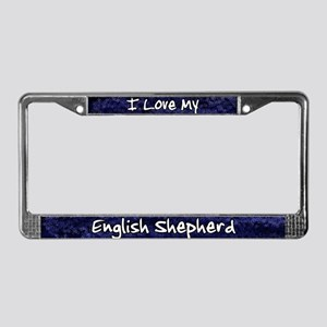 Funky Love English Shepherd License Plate Frame