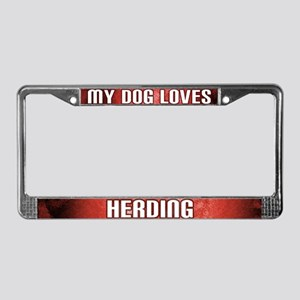 My Dog Loves Herding License Plate Frame (Red)