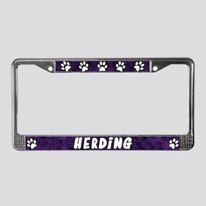 Paw Print Herding License Plate Frame (Purple)
