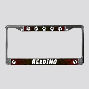 Paw Print Herding License Plate Frame (Red)