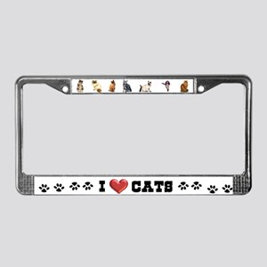 I love cats License Plate Frame
