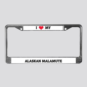 I Love My Alaskan Malamute License Plate Frame