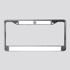Dark Blue Floral Mandala License Plate Frame
