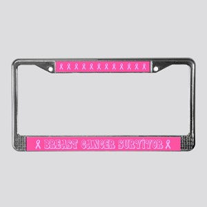 Twirled Breast Cancer Survivor License Plate Frame