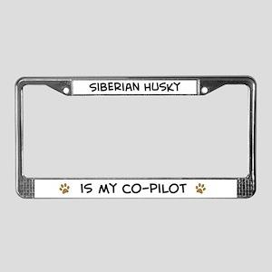 Co-pilot: Siberian Husky License Plate Frame