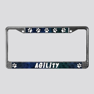Paw Print Dog Agility License Plate Frame (Blues)