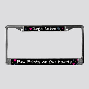 Dogs Leave Paw Prints License Plate Frame