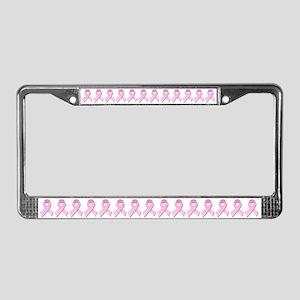 Pink Gingham Ribbon License Plate Frame