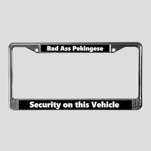 Bad Ass Pekingese License Plate Frame