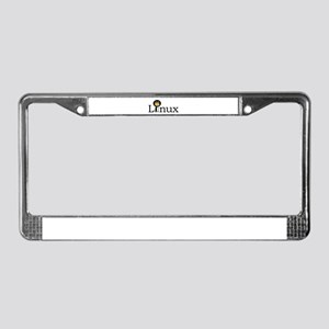 Linux text with funny tux face License Plate Frame
